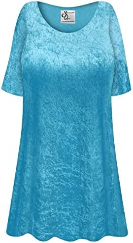Turquoise Crush Velvet Plus Size Supersize Extra Long A-Line Top