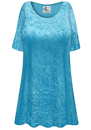 Turquoise Crush Velvet Plus Size Supersize Extra Long A-Line Top 4x