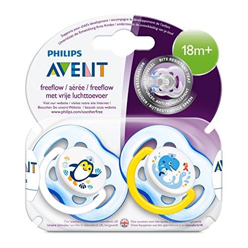 Philips Avent SCF186/24 - Pack de 2 chupetes decorados con animales para niño +18 meses, tetina extra resistente