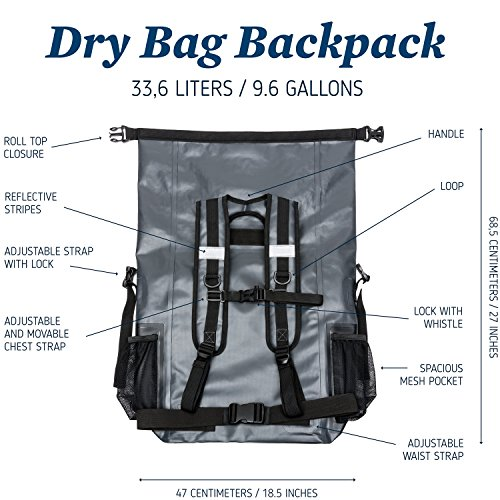 The Friendly Swede Waterproof Backpack Dry Bag 33L with Laptop Pocket, Roll Top Seal, Ergonomic Hiking Rucksack - Heavy Duty 500D PVC