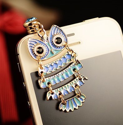 CJB Dust Plug / Earphone Jack Accessory Night Owl Pattern Golden Yellow for iPhone 4 4S S4 5 All Device with 3.5mm Jack (Black & white)