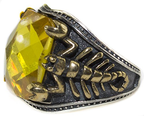Sterling silver men ring handmade, citrine stone, scorpion ring animal, EXPRESS SHIPMENT