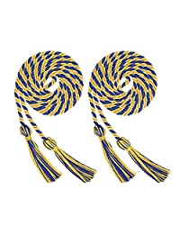 Volwco 2 Pieces Graduation Cords Polyester Yarn Honor Cord, Honor Cords, Graduation Cords, Honor Cord Tassels for Graduation Students, Blue and Yellow Graduation Cord