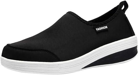 Baskets Mode Mixte Adulte Chaussures de Course Chaussures /à Randonn/ée Respirant Chaussures de Running Slip-on Sneakers Plat en Maille ZEZKT Femme Chaussures de Sport