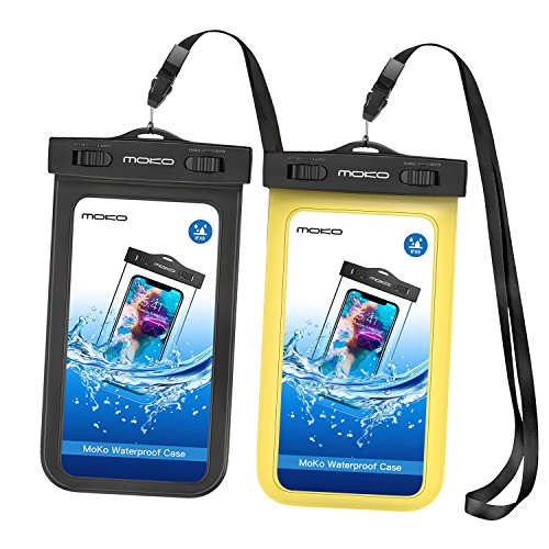 MoKo Waterproof Phone Pouch [2 Pack], Underwater Waterproof Cellphone Case Dry Bag with Lantard & Armband Compatible with iPhone X/Xs/Xr/Xs Max, 8/7/6s Plus, Samsung S10/S9/S8 Plus, S10 e, Up to 6.5