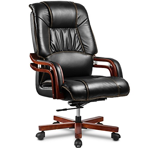 Ultimate Leather Executive Chair - Halter EY-14A Fully Assembled Ergonomic Reclining PU Leather Executive Office Chair Adjustable Lumbar Support Tilt Tension – Zero Back Pain-46.5