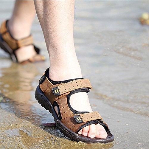 Color 42 sudore traspiranti Brown sandali uomo Qingqing pelle chiusi in sandali Brown EU Sandali Size antiscivolo da da assorbenti in Sandali pelle uomo TqxqZR