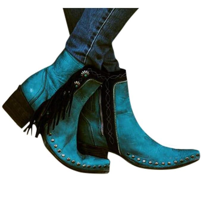 RYTEJFES Cowboystiefel Damen Vintage Quaste Stiefeletten