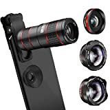 Phone Camera Lens, KNGUVTH 5 in 1 Cell Phone Lens Kit - 12X Zoom Telephoto Lens + Fisheye Lens + Super Wide Angle Lens+ Macro Lens (2 Lens) Compatible with iPhone X XS Max XR/8/7/6/6s Samsung Andriod