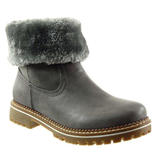 Angkorly - damen Schuhe Stiefeletten - Biker - bi-Material - Pelz - Fertig Steppnähte Blockabsatz high heel 3.5 CM Grau