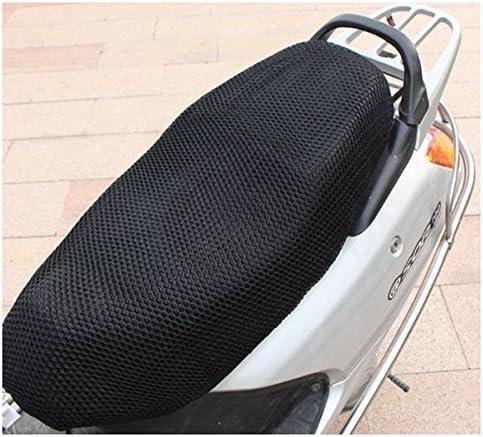 R TOOGOO 90cmx52cm cubierta de asiento de malla Moto transpirable Cojin color negro