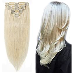 "Clip in 100% Remy Human Hair Extensions 8""-24"" Grade 7A Quality Full Head 8pcs 18clips Long Soft Silky Straight for Women Fashion 13"" / 13 inch 80g, 60 Platinum Blonde"