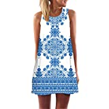 Wobuoke Women Summer Sleeveless Boho Print Casual Beach Vintage Fashion Short Mini Dress