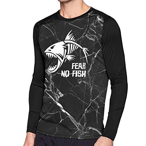 Men's Fear No Fish Classic Jersey Raglan Long Sleeve Tee Round Neck Blouse Tops - No Jerseys Fear Mens