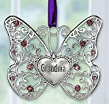 BANBERRY DESIGNS Grandmother Butterfly - Silver Filigree Design with Purple Accents - Grandma Engraved Heart -Gifts for Her- 2 3/4' H