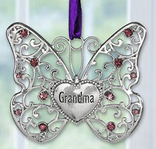 Filigree Christmas Cards - BANBERRY DESIGNS Grandmother Butterfly - Silver Filigree Design with Purple Accents - Grandma Engraved Heart - 2 3/4