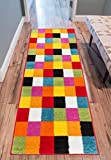 Well Woven Modern Rug Squares Multi Geometric Accent Area Rug 2'X7'3'' Runner Entry Way Bright Kids Room Kitchn Bedroom Carpet Bathroom Soft Durable Area Rug