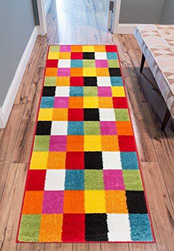 (Well Woven Modern Rug Squares Multi Geometric Accent Area Rug 2'X7'3'' Runner Entry Way Bright Kids Room Kitchn Bedroom Carpet Bathroom Soft Durable Area Rug)