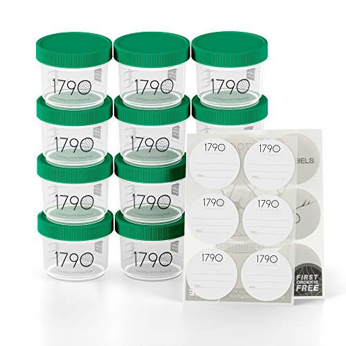 1790 Baby Food Storage Container Set [12 Pack] - BPA Free and Safe to use in The Microwave, Freezer, Dishwasher - Odorless and Stain Proof Design - Airtight and Leak Proof