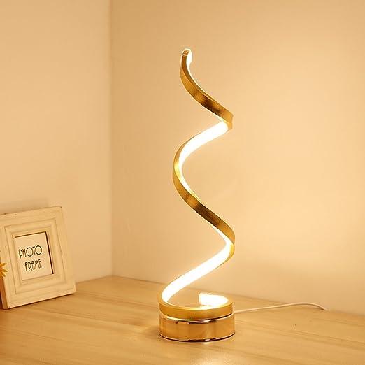 LEDMOMO Lámpara de mesa LED espiral moderna lámpara de mesa de ...