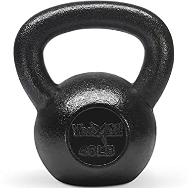 Yes4All Solid Cast Iron Kettlebell Weights Set – Great for Full Body Workout and Strength Training – Kettlebell 40 lbs (Black)