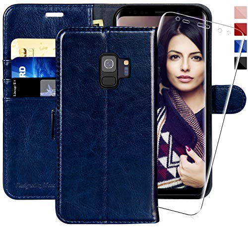 Galaxy S9 Wallet Case, 5.8-inch,MONASAY [Included Screen Protector] Flip Folio Leather Cell Phone Cover with Credit Card Holder for Samsung Galaxy S9 ()