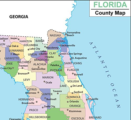 Florida Springs Map.Amazon Com Florida County Map Laminated 36 W X 33 12 H