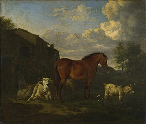 Oil Painting 'Adriaen Van De Velde - Animals Near A Building,1663' 16 x 19 inch / 41 x 48 cm , on High Definition HD canvas prints is for Gifts And Foyer, Laundry Room And Powder Room Decoration, home (Live Love And Pop Popcorn compare prices)