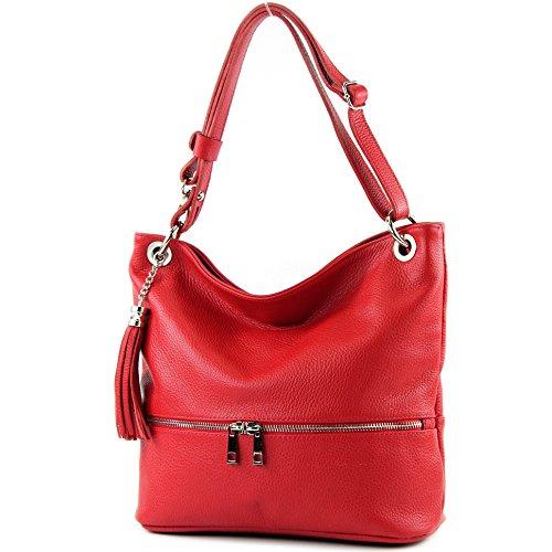 modamoda de -. ital señoras de bolso de cuero del bolso del bolso de hombro del bolso de cuero T143 Rot