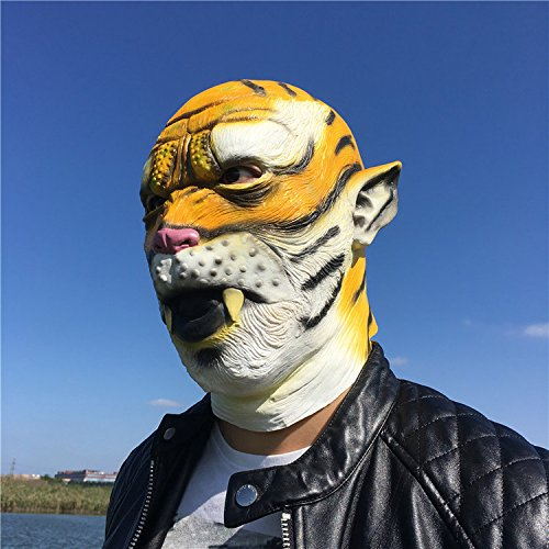 Leopard Latex Head Mask Cute Halloween Costume Mask Cosplay Animal Full Face Mask Carnival for Adults and Kids by (Leopard Faces For Halloween)