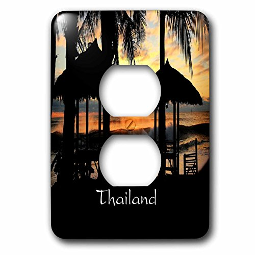 Florene Worlds Exotic Spots - Image of Tiki Huts Palms And Sunset In Thailand - Light Switch Covers - 2 plug outlet cover - Huts Thailand