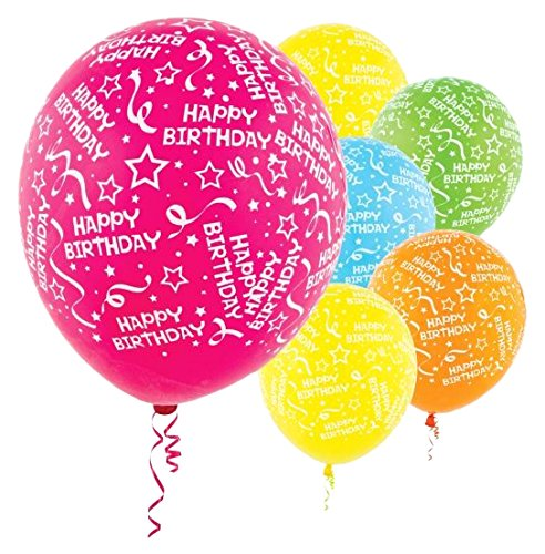 Birthday Confetti  Colors Latex Balloons | Pack of 20 | Assorted Brights | Party Decor