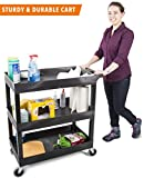 utility cart wheels - Original Tubster - Shelf Utility Cart / Service Cart - Heavy Duty - Supports up to 400 lbs! - Tub Carts & Deep Shelves - Great for Warehouse, Garage, Cleaning, & More! (3 Shelf - Black 32x18)