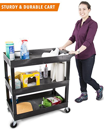 Original Tubster - Shelf Utility Cart / Service Cart - Heavy Duty - Supports up to 400 lbs! - Tub Carts & Deep Shelves - Great for Warehouse, Garage, Cleaning, & More! (3 Shelf - Black 32x18)