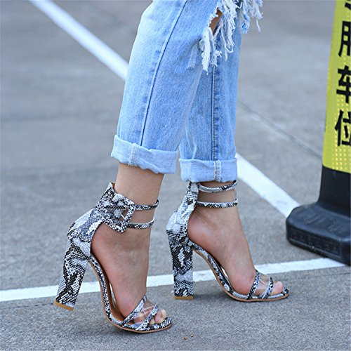 Lalang Damen Transparente Knöchelriemen Stilettos Sandalen Womens High Heels Schuh Weiß Serpentine