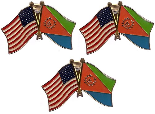 Pack of 3 National Country Flag & US Crossed Double Flag Lapel Pins, International & American Friendship Pin Badge (Eritrea)