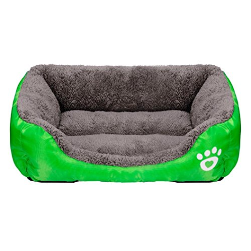 XILALU Cute Pet Dog Cat Bed Puppy Cushion Soft Warm Kennel Mat Blanket (M (Length 58cm), Green)