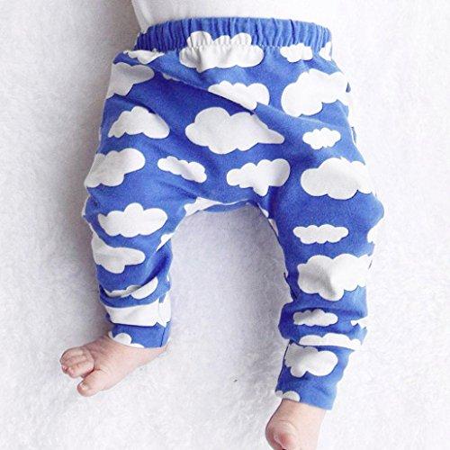 Omiky® Kleinkind-Säuglingsbaby-Jungen-Mädchen scherzt nette Wolken-Druck-Hosen-Gamaschen-Kleidung Dunkelblau