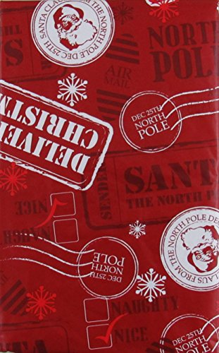 - Santa's North Pole Postage Vinyl Flannel Back Tablecloth (52