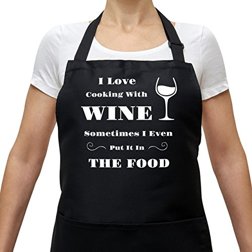 BBQ Apron Cooking Funny Apron - I Love Cooking With Wine - Adjustable Black Apron With Pockets