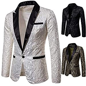 GOVOW Men's Blazer Coat Cape Cardigan Jacket Charm Casual One Button Fit Suit Jacket Top(US:14/CN:XXL,White)
