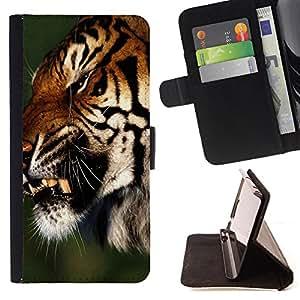 Dragon Case- Mappen-Kasten-Prima caja de la PU billetera de cuero con ranuras para tarjetas, efectivo Compartimiento desmontable y correa para la mu?eca FOR Samsung Galaxy S3 MINI I8190- Tiger Heart