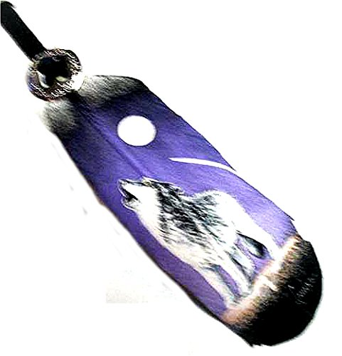 Howling Wolf Painting on a Large Feather By Jose Carmelo - Carmelo One Light