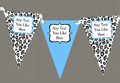 Black White & Sky Blue Animal Print Personalised Birthday Party Bunting by The Card Zoo