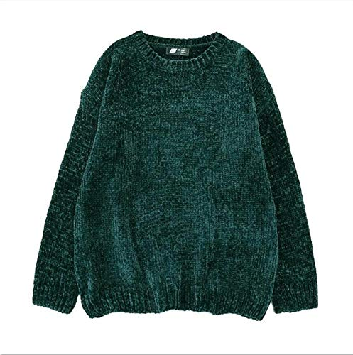 Thick Warm Turtleneck Oversized Chenille Sweaters Long Sleeve Winter Autumn Basic Loose Pullovers Ladies Causal Tops (One Size,Dark Green O Neck)
