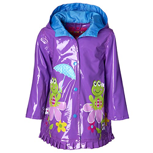 Wippette Girls & Toddlers Raincoat With Frog On a Flower Print (Purple Rain Flowers)