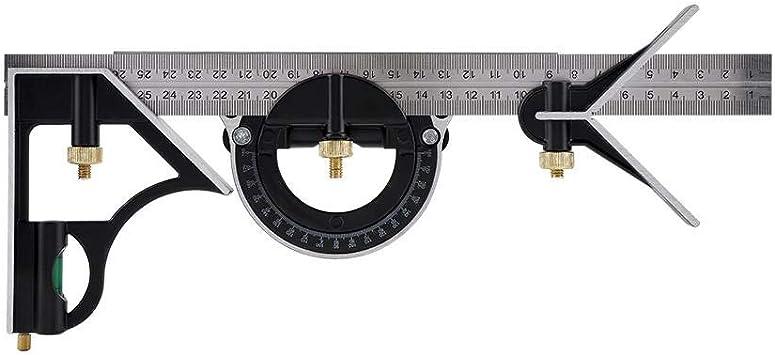 per marcatura 45/° e 90/° Squadra Combinata Righello per Angolo Combinato Combinazione di Righello Multifunzionale Righello Combinato Regolabile Righello ad Angolo con bolla