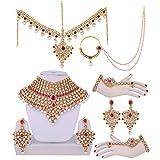 Lucky Jewellery Magenta Designer Partywear Wedding & Engagement Bridal Set
