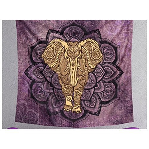 "KRWHTS Tapestry Polyester Wall Tapestry Indian Elephant Tapestry Lotus Yoga Mat Home Decor Carpet toalla mandalas playa (150200 cm(60""80""), 31)"