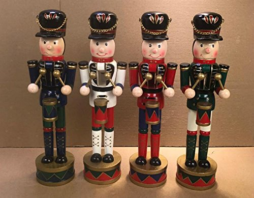 gelvs Christmas wooden Drummer nutcracker Soldier Puppet Ornament on stand Handcraft Friends Children Gifts House Office Home Decor Display set of 4 styles